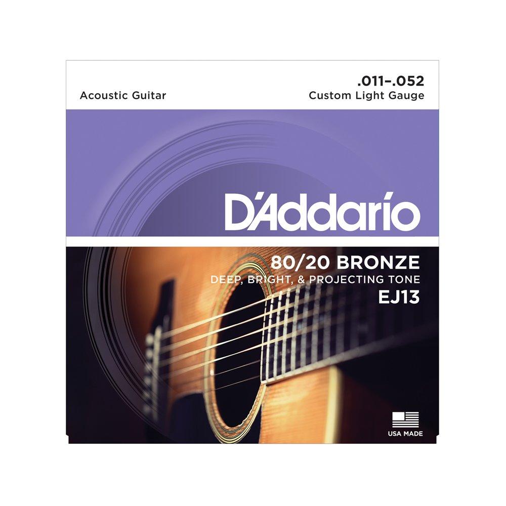 D'Addario EJ13 Custom Light Acoustic 80/20 Bronze 11-52