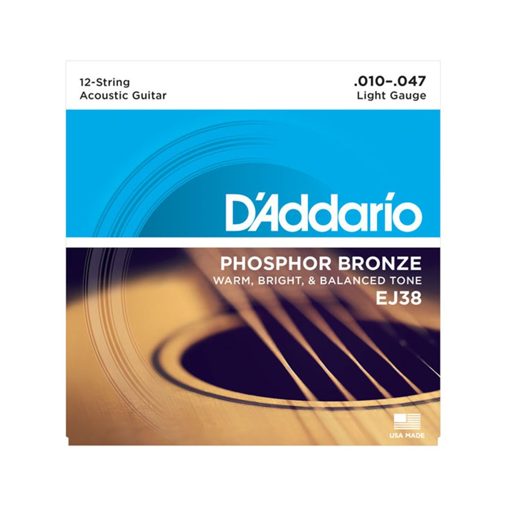 D'Addario EJ38 Light Acoustic 12-String Phosphor Bronze 10-47