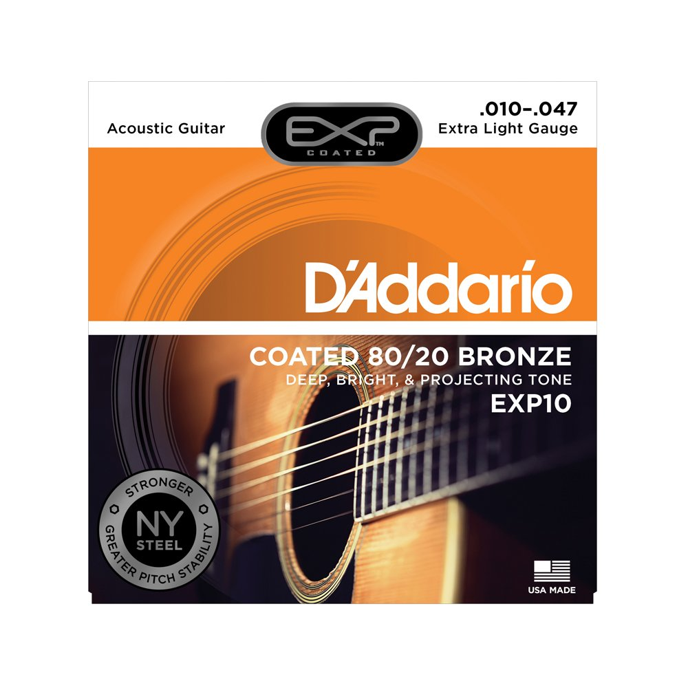 D'Addario EXP10 Coated Extra Light Acoustic 80/20 Bronze 10-47