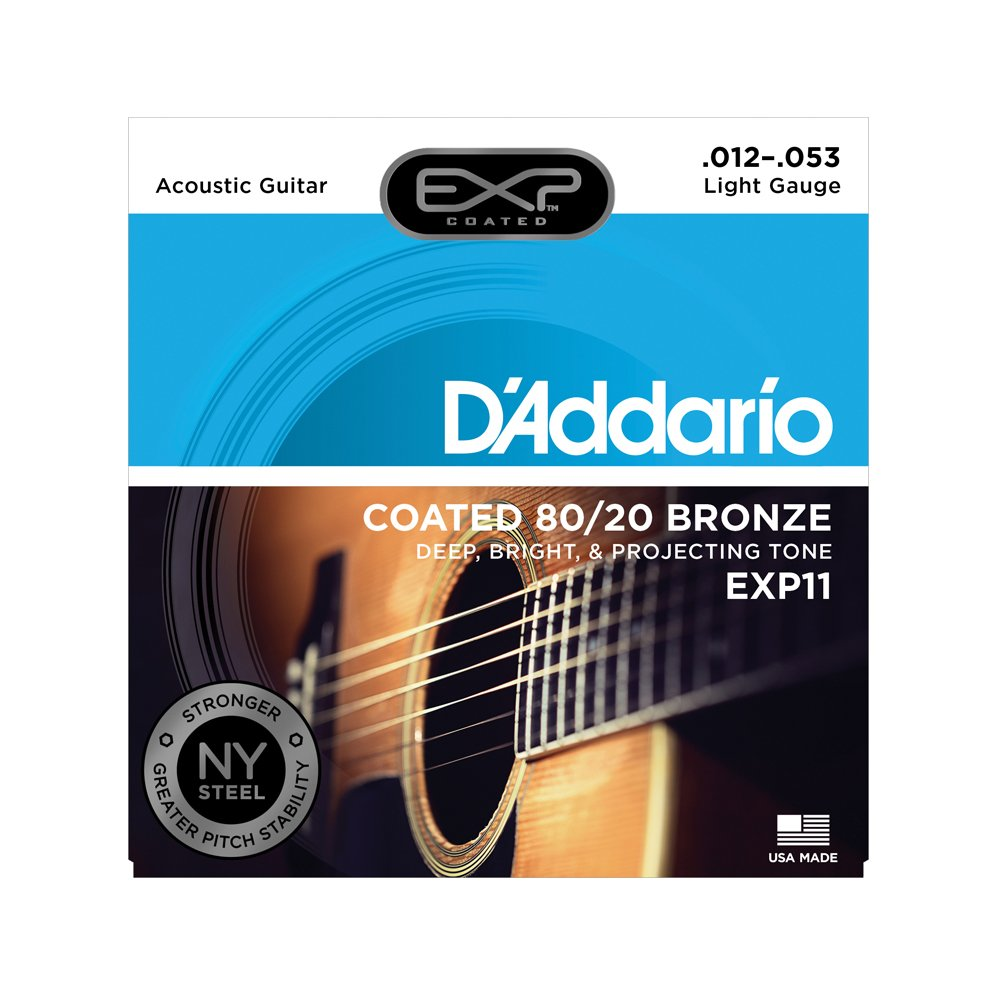 D'Addario EXP11 Coated Light Acoustic 80/20 Bronze 12-53