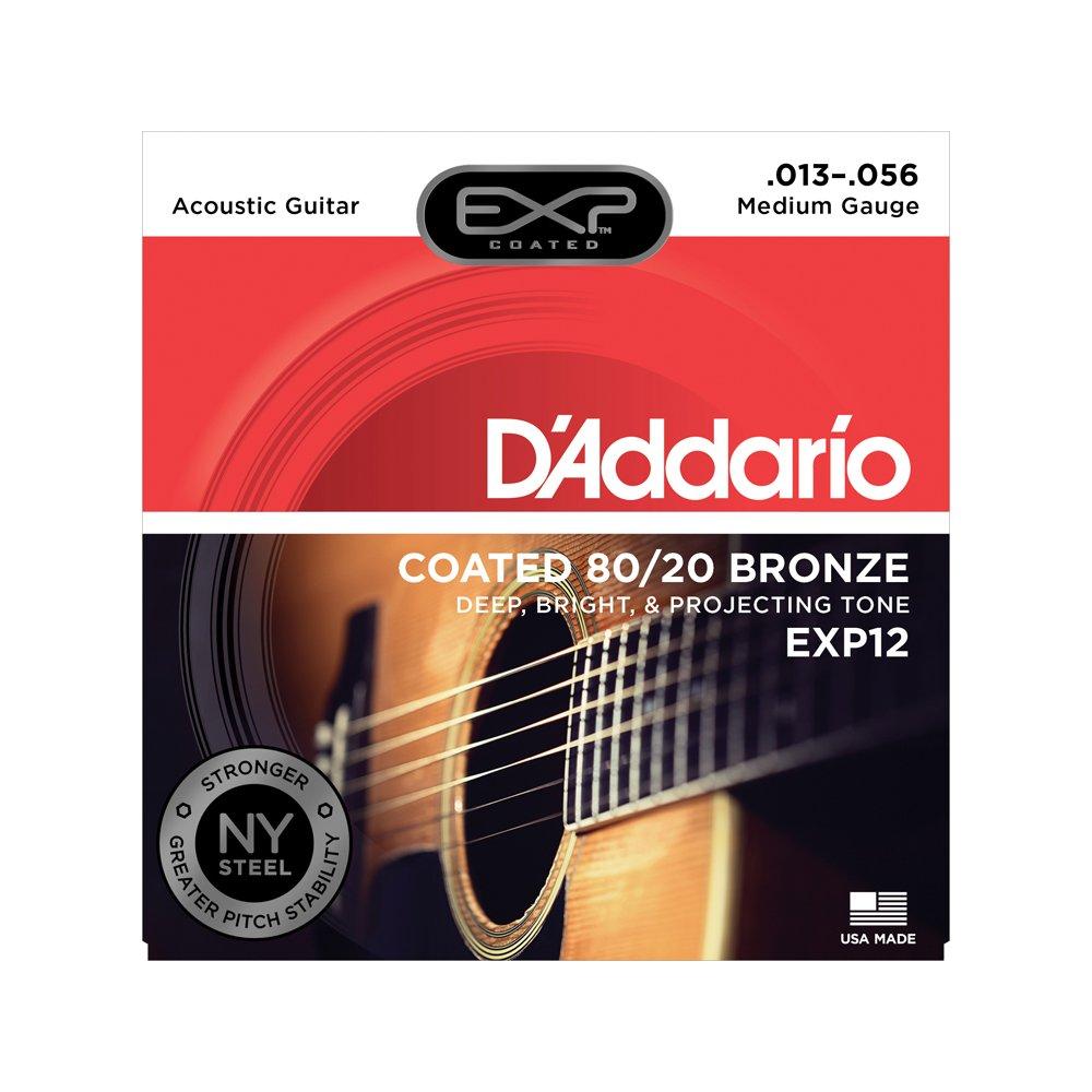 D'addario EXP12 Coated Medium Acoustic 80/20 Bronze 13-56