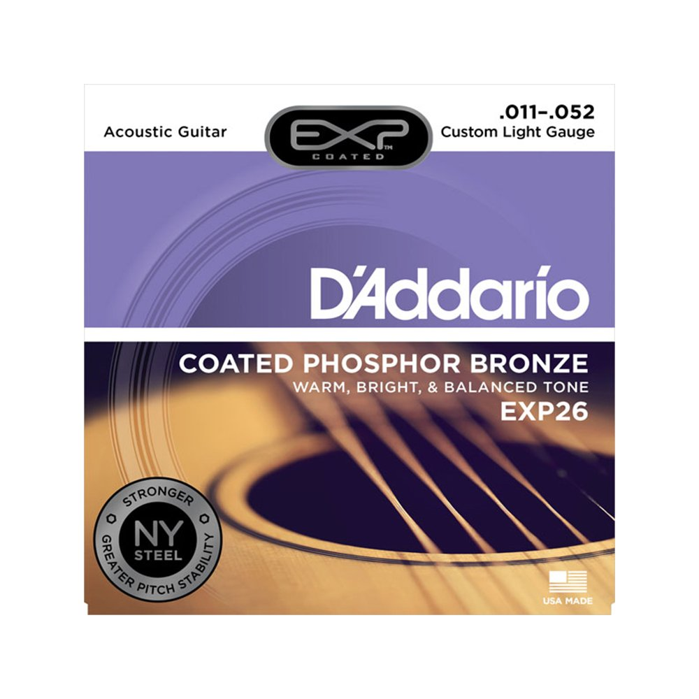 D'Addario EXP26 Coated Custom Light Acoustic Phosphor Bronze 11-52