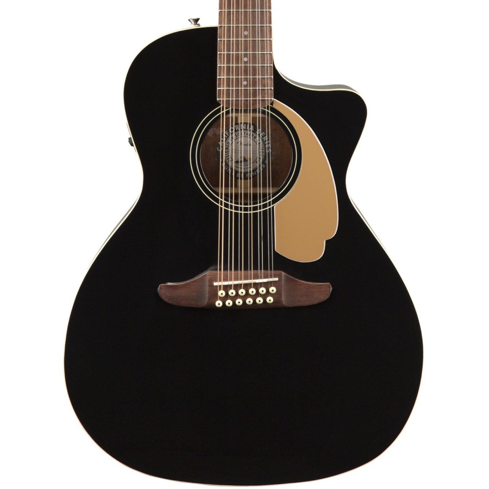 Fender Villager 12-String Acoustic-Electric Guitar - Black w/Gig Bag