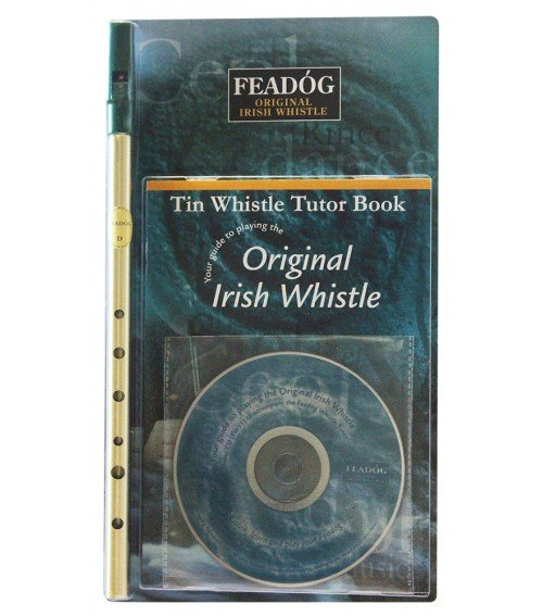 Feadog Brass D Tin Whistle Pack with Book & CD