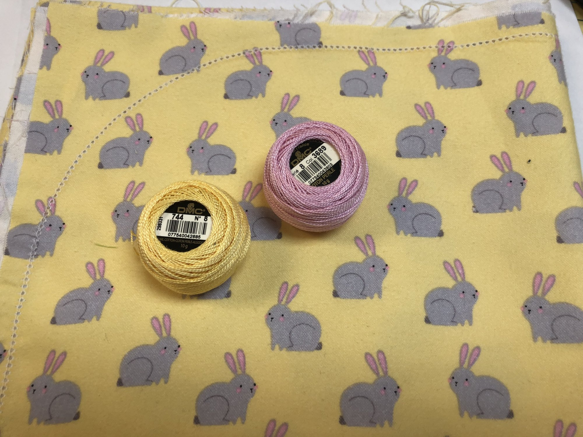 Gray Bunnies on Yellow Hemstitched Flannel Blanket