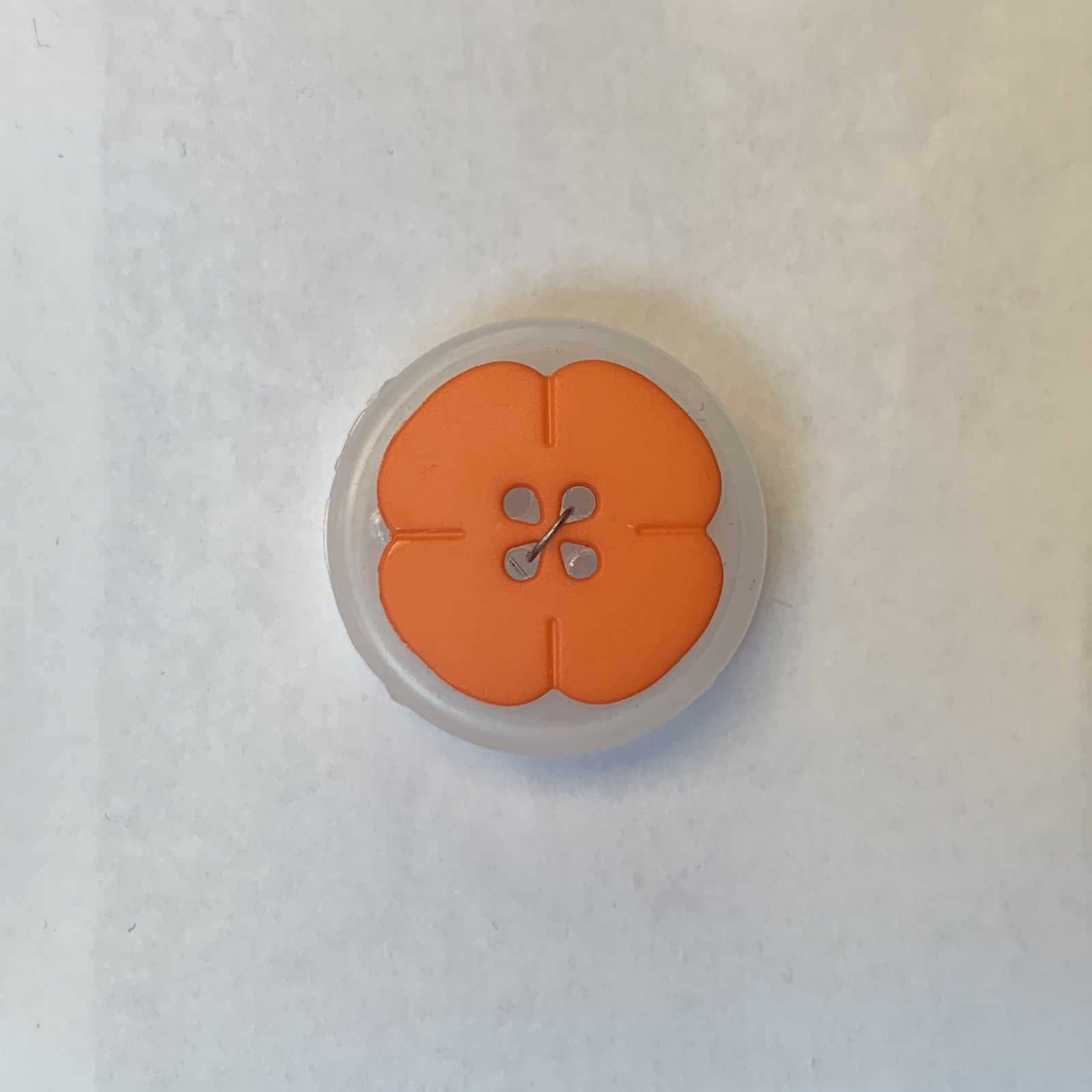 Orange Flower Button 3/4 Inch