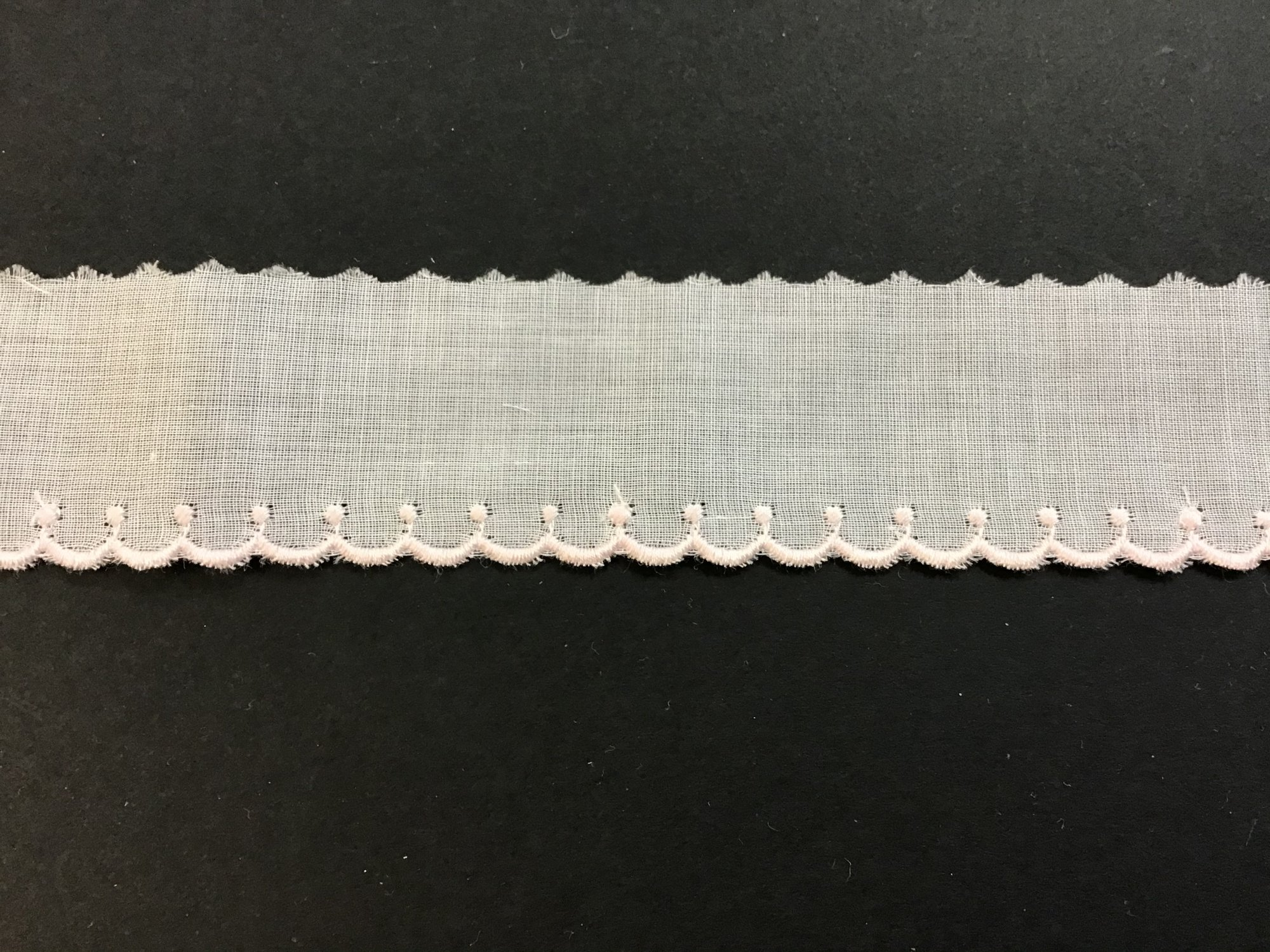Swiss Embroidered Edging 1 Inch White with Pink 729804-02A