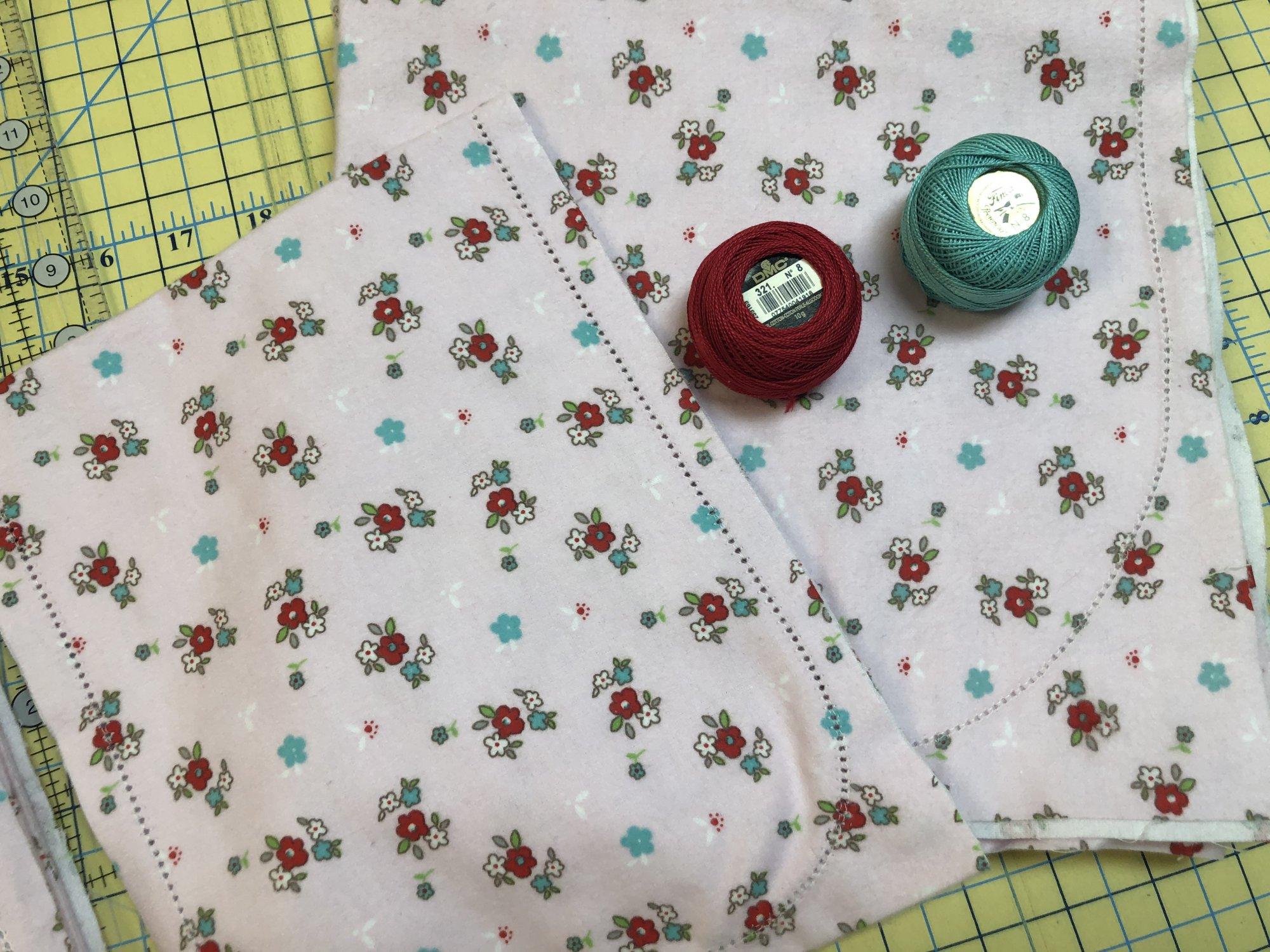 Little Floral Pink Hemstitched Flannel