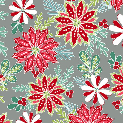 Heart and Home Christmas Floral Medium Grey 10323 13