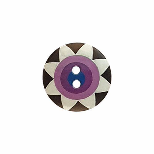 Kaffe Fassett Star Flower Black White Purple and Navy 261401