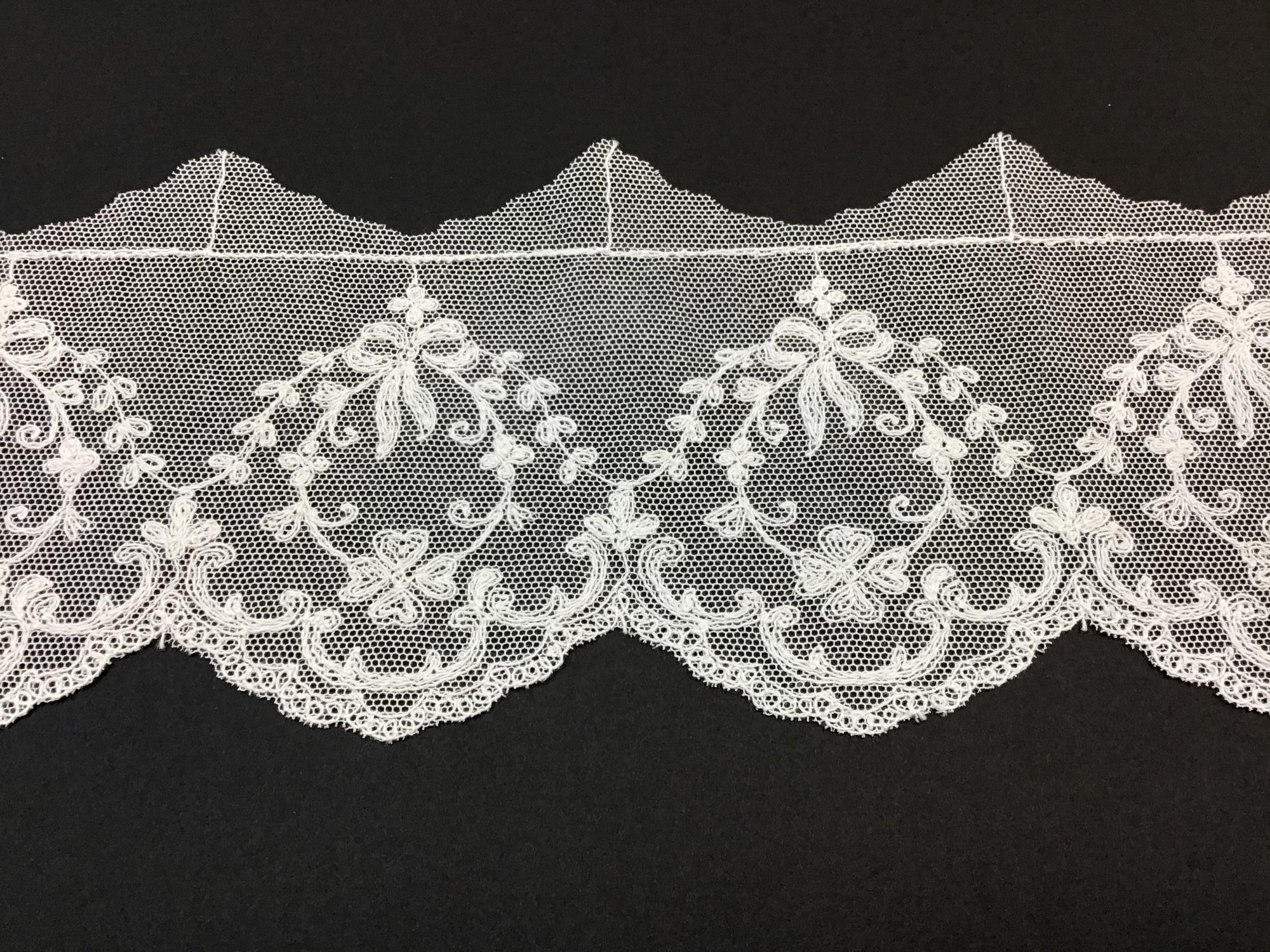English Netting Lace Edging 3 7/8 Inches Soft White 5141-D