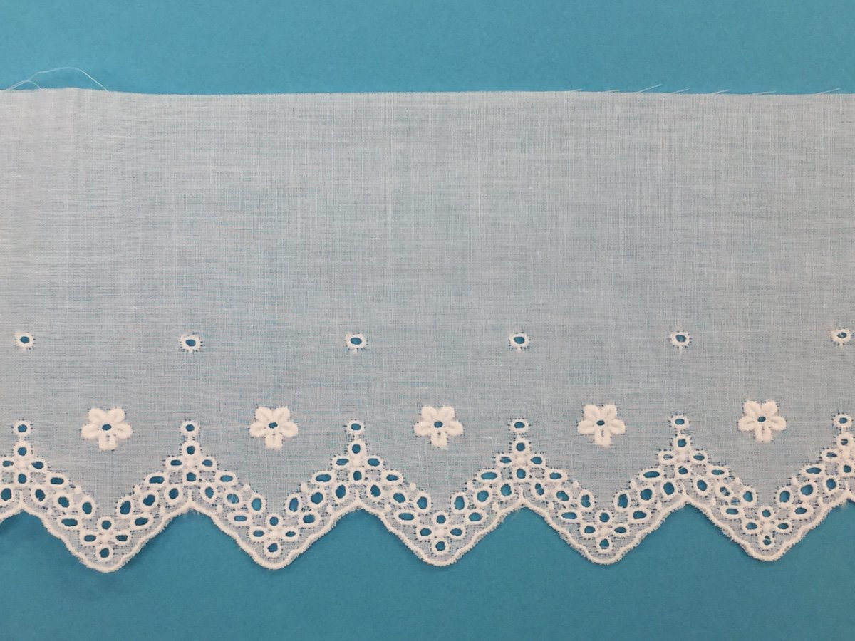 swiss embroidered edging -  white 3 wide BT770