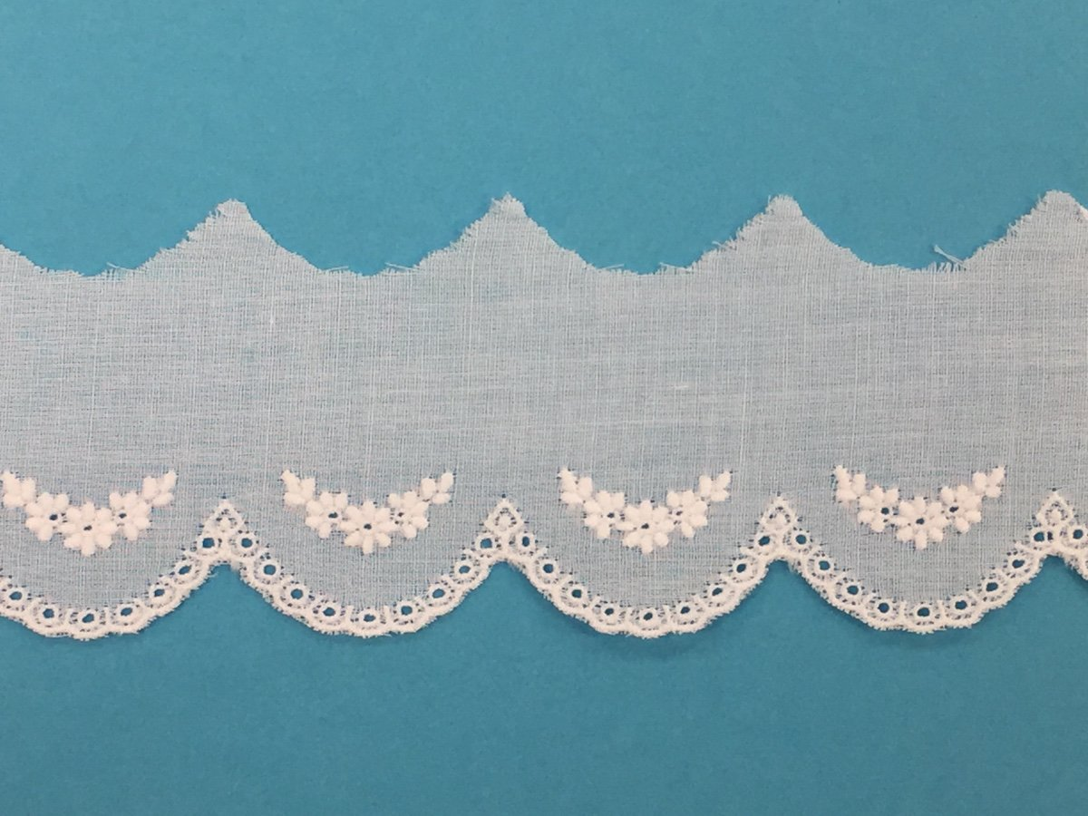 swiss embroidered edging -  white 1 1/2 wide BT767