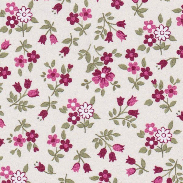 Cotton Challis in Crimson, Pink, and Sage Green Floral  2209