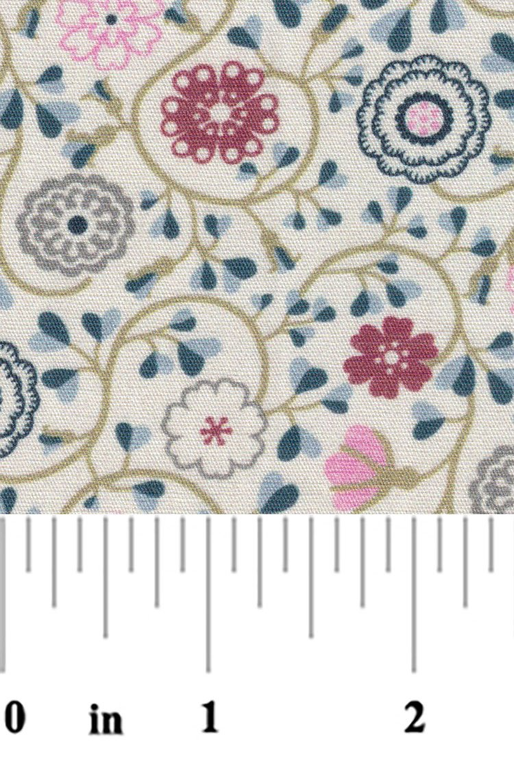 Small Floral Print in Blue Red Pink Grey and Tan 2294