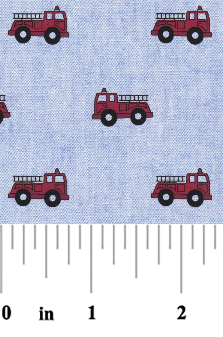 Red Firetrucks on Blue Chambray 23212