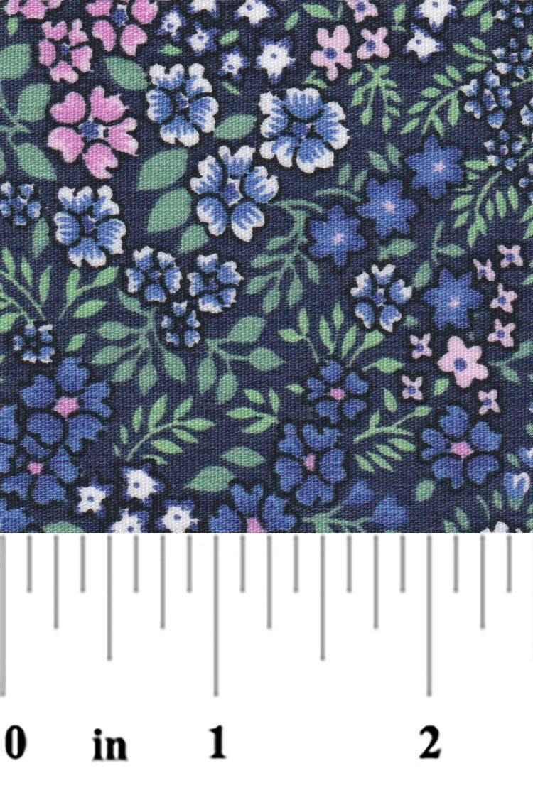 Blue Pink and Green Floral Print  2323