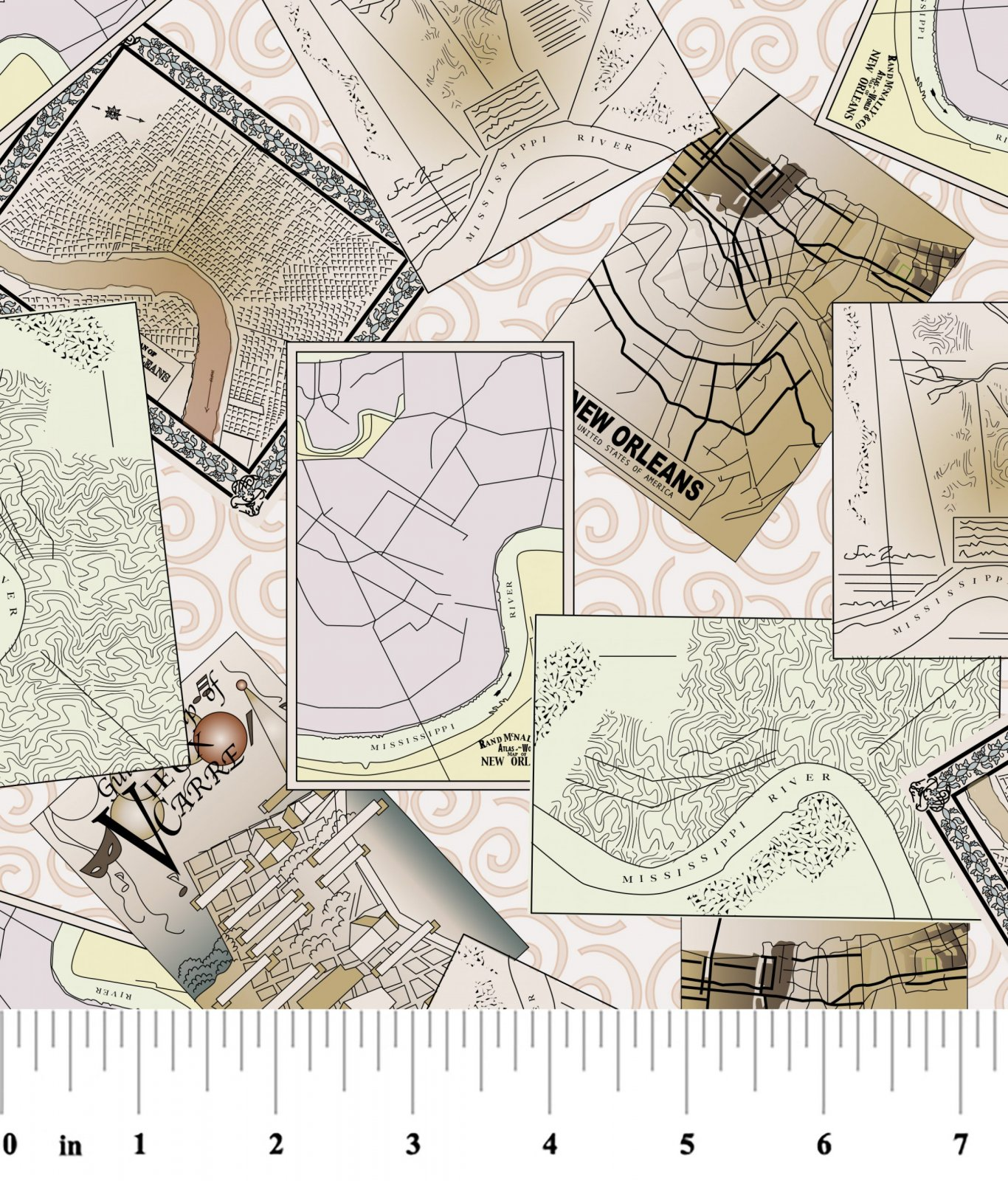 New Orleans Map Fabric 2369