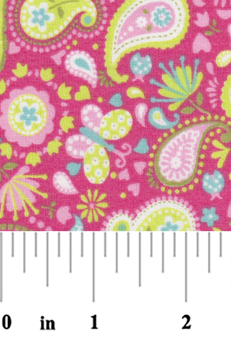 Pink and Lime Green Paisley Fabric 2375