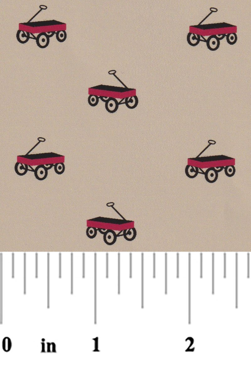 Red Wagons on Khaki Chambray 2376