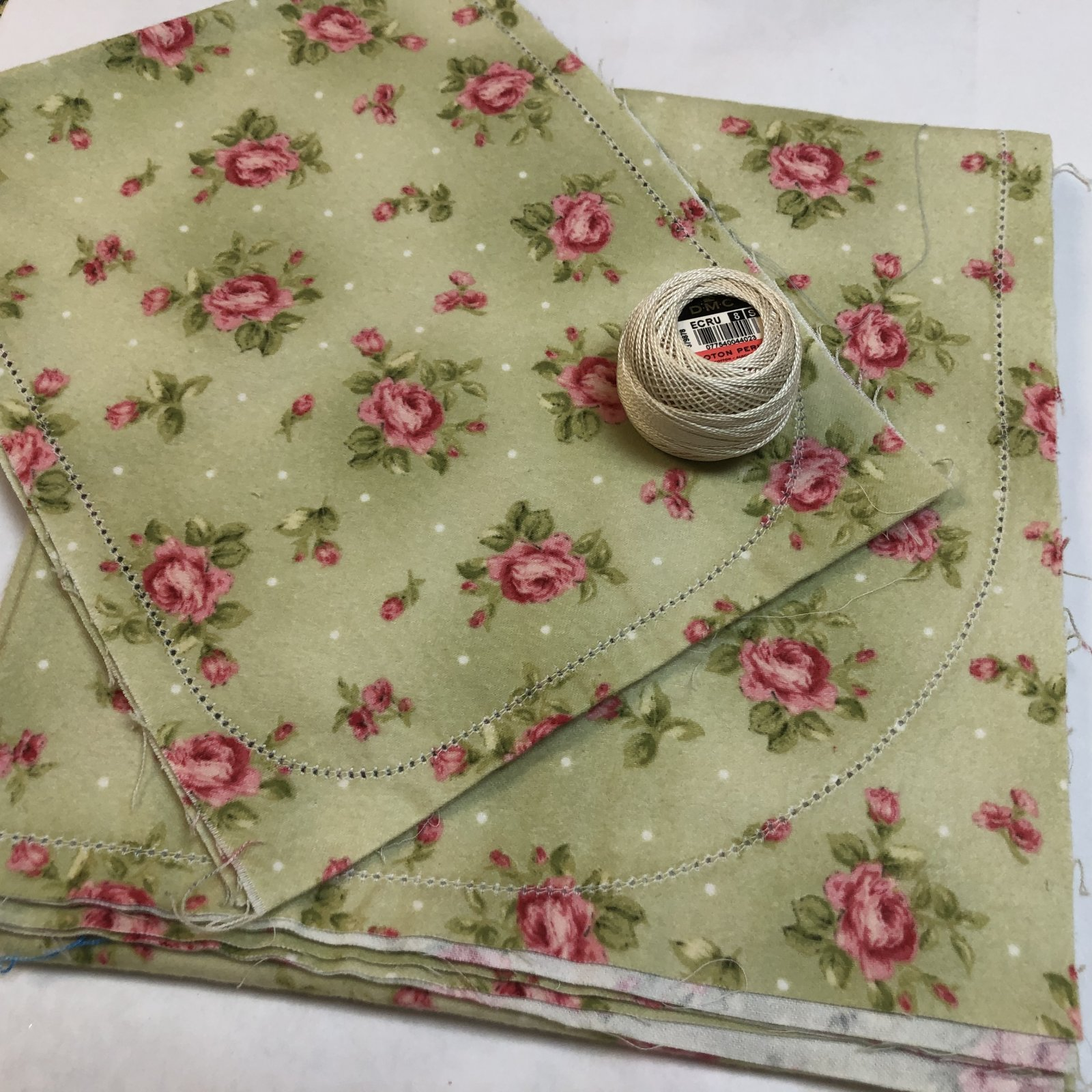Roses on Green Hemstitched Flannel Blanket and Burp Set
