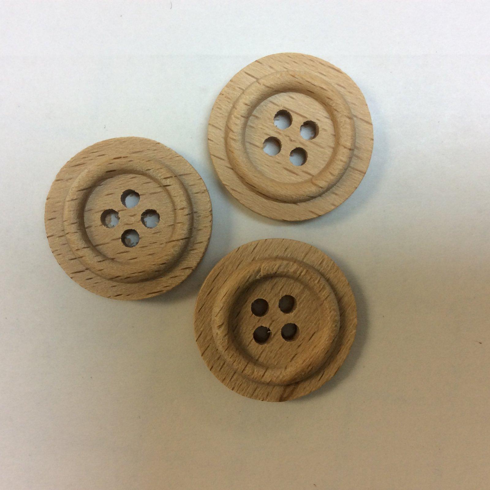 Wood Button 20mm Natural Beechwood 231207