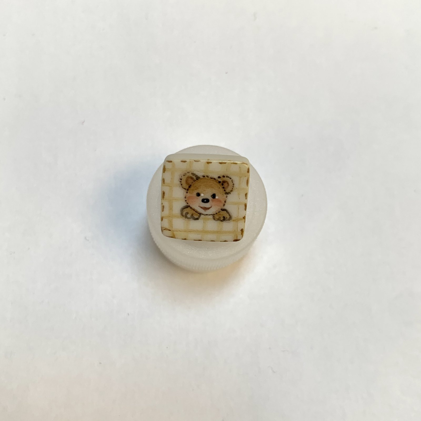 Bear Square Porcelain Button 1/2 Inch