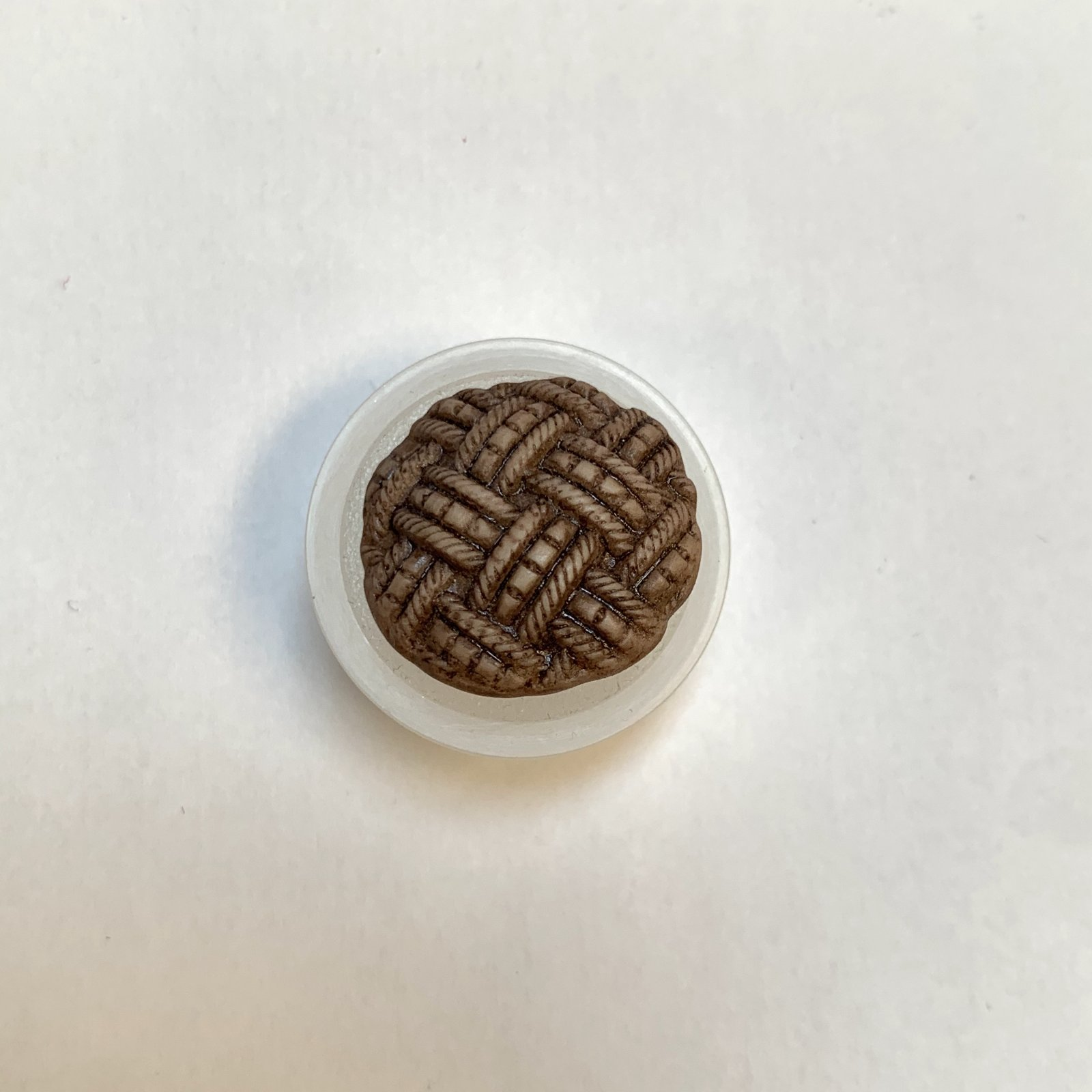 Brown Weave Porcelain Button 7/8 Inch XB-734