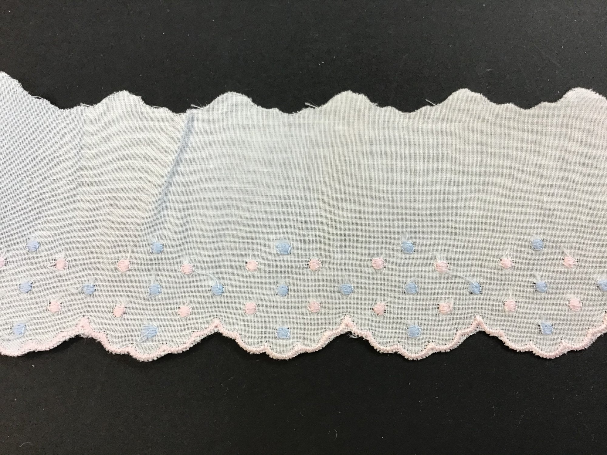 Swiss Embroidered Edging 2.25 Inch White with Pink Edge and Pink and Blue Dots 02A