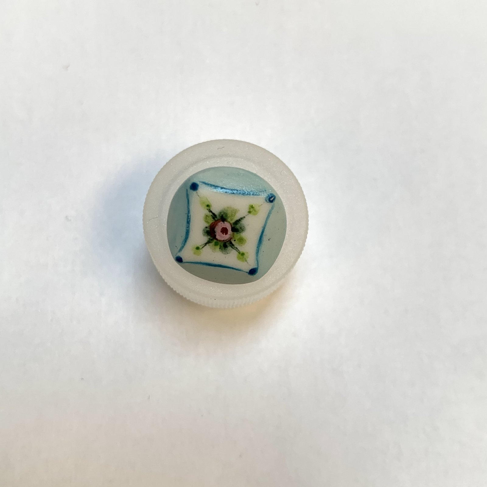 Blue PInk Floral Porcelain Button 1/2 Inch
