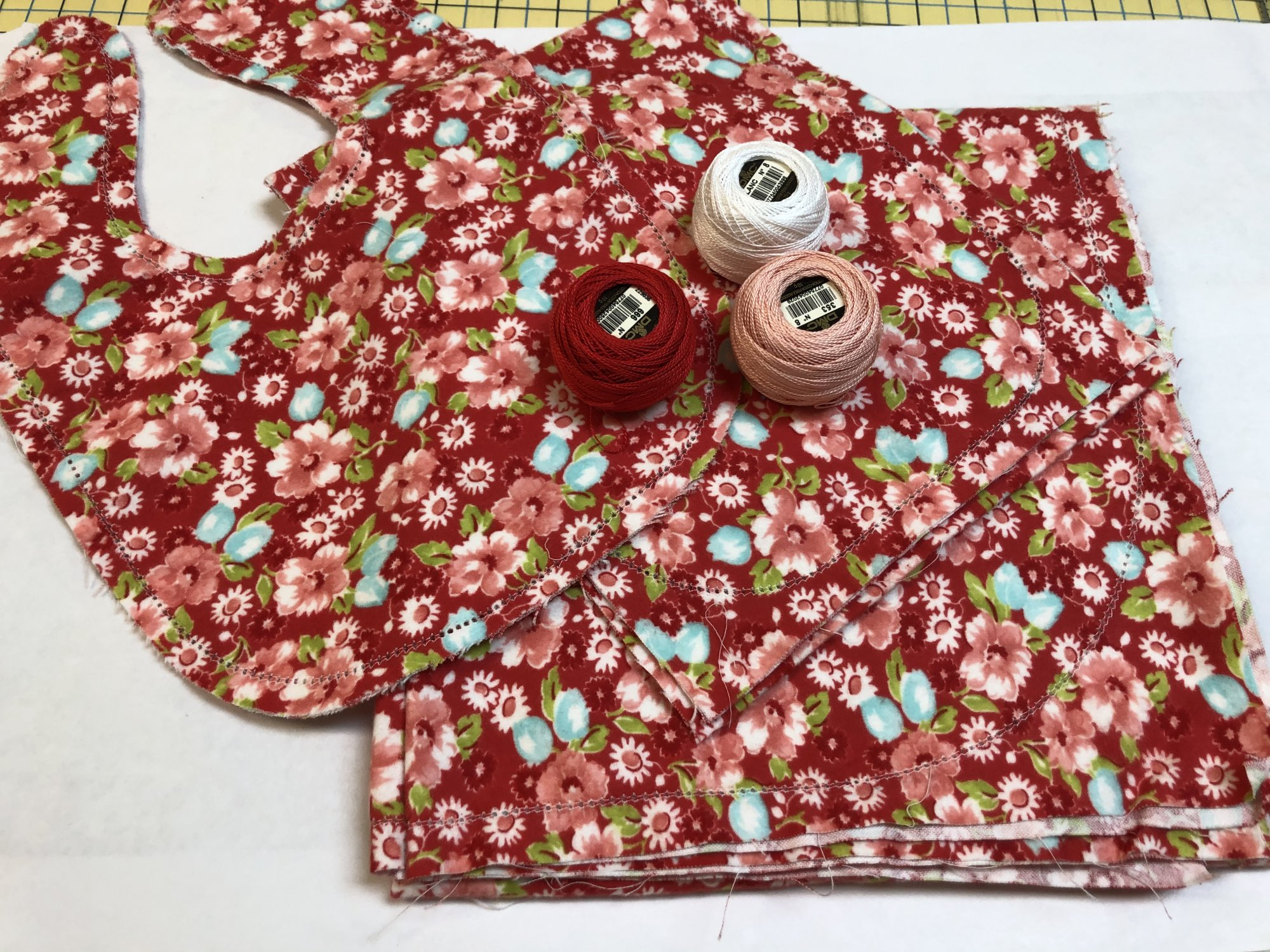 Little Ruby Flowers on Red Hemstitched Flannel