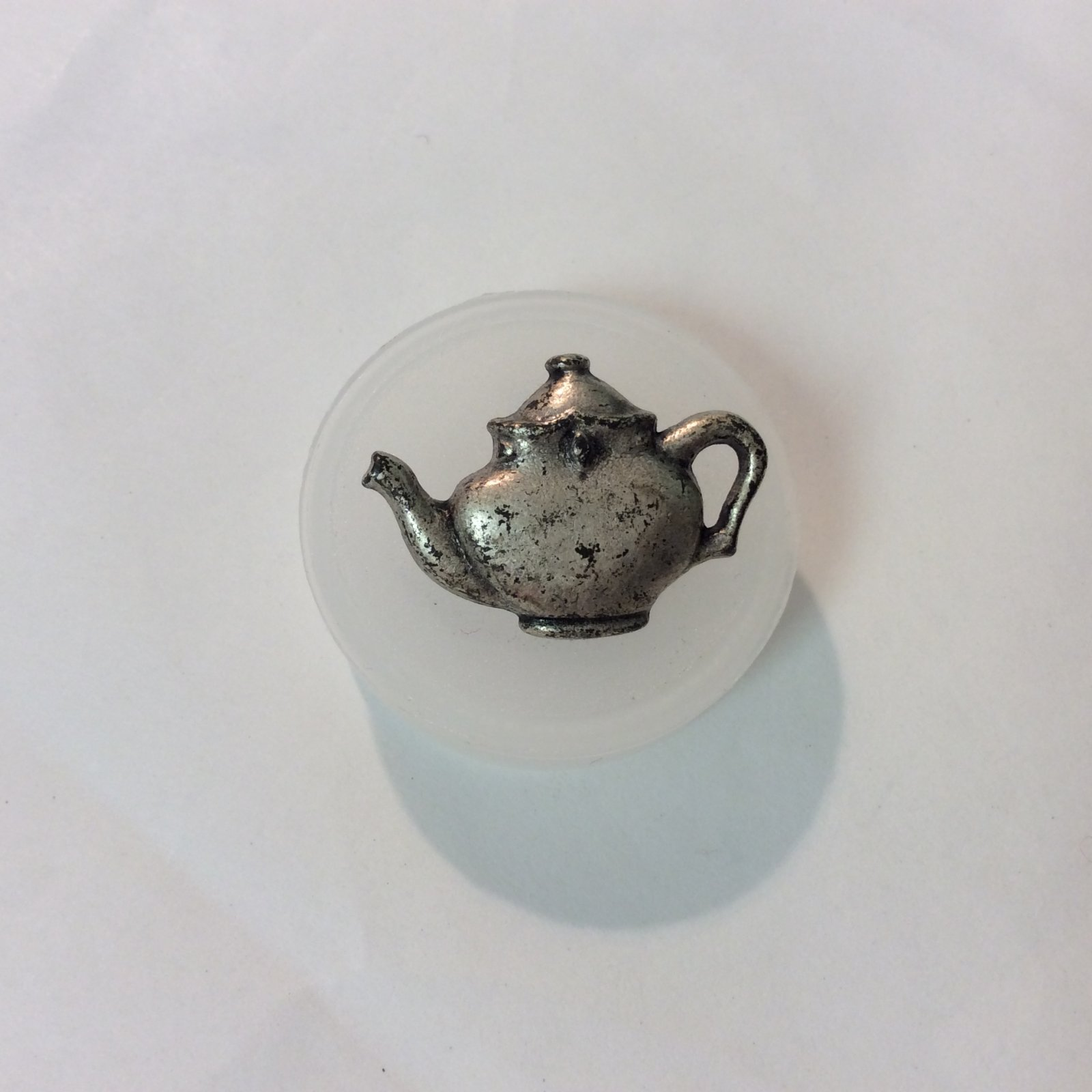 Teapot Button Antique Silver 1 inch