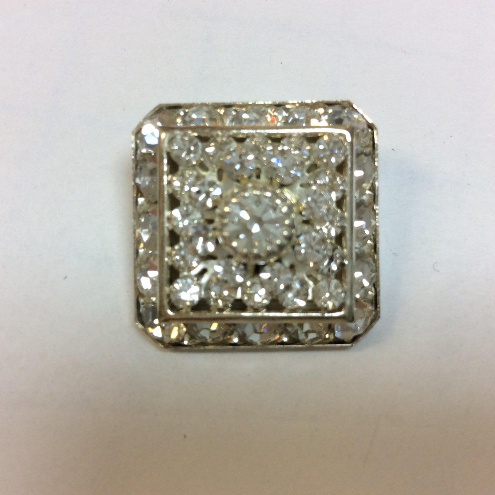 Square Silver Rhinestone Button 7/8 Inch