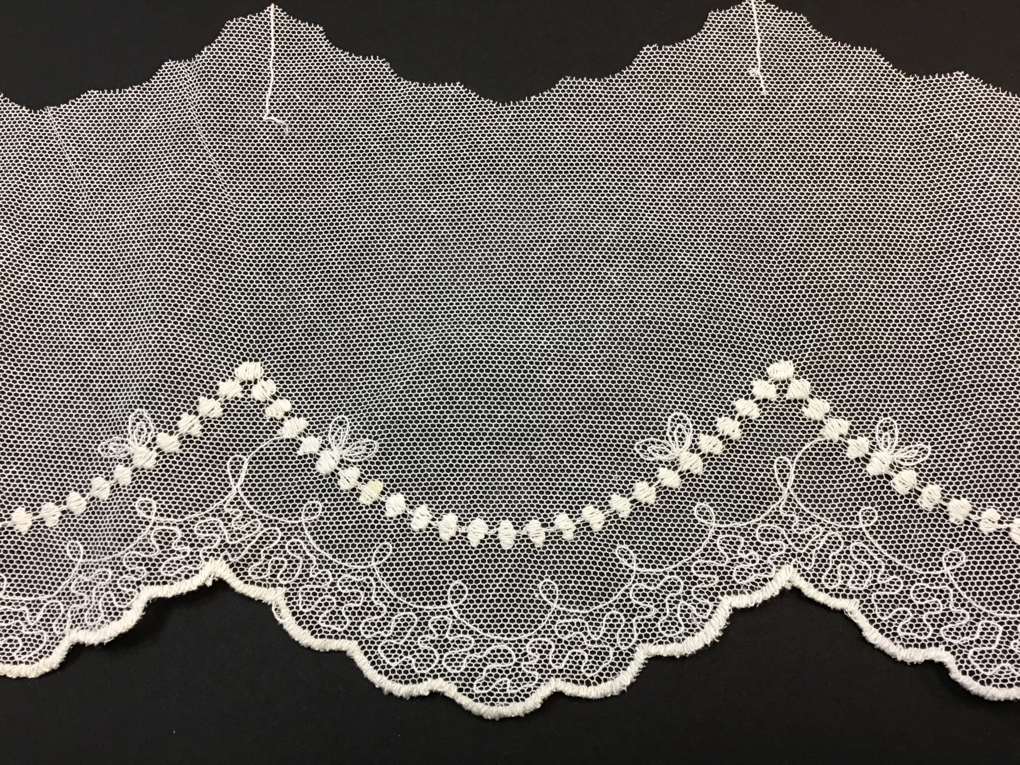 English Netting Lace Edging 5 Inches Soft White NM 2052-D