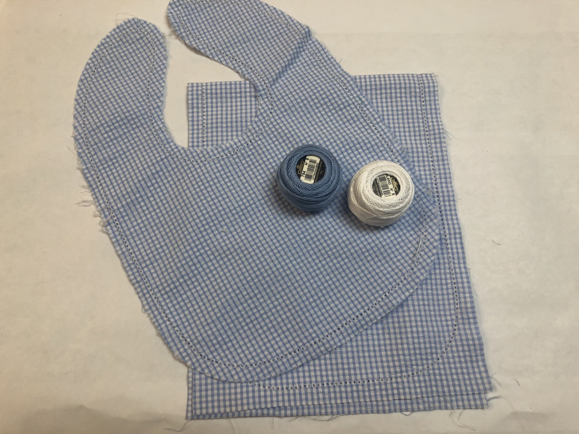 Blue Small Windowpane Hemstitched Seersucker Bib and Burp Cloth Set