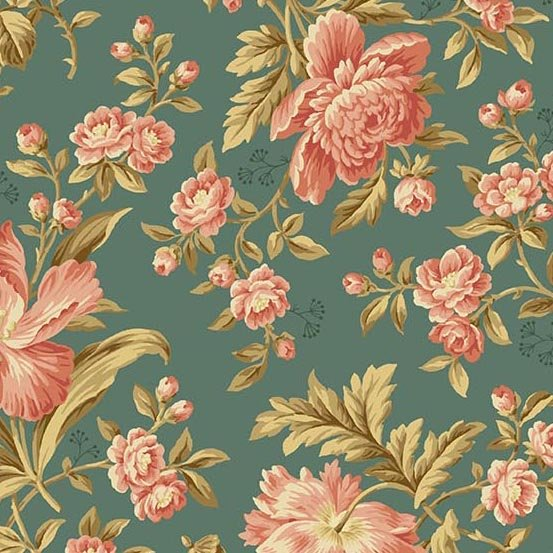 Crystal Farms Teal with flowers 8614T