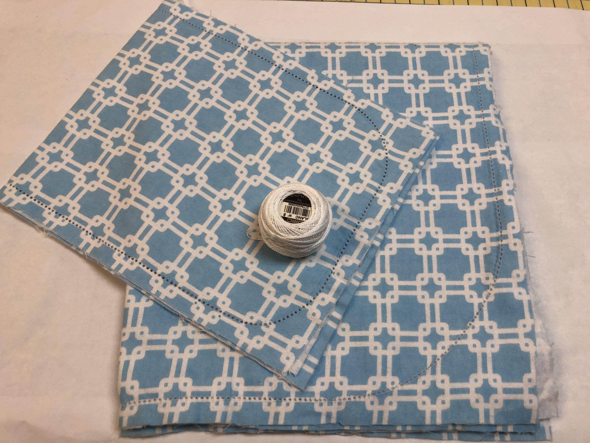 Lattice on Blue Flannel Blanket and Burp Cloth Set