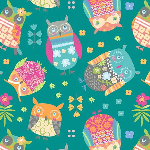 Awesome Owls Teal and Multi 09411 84