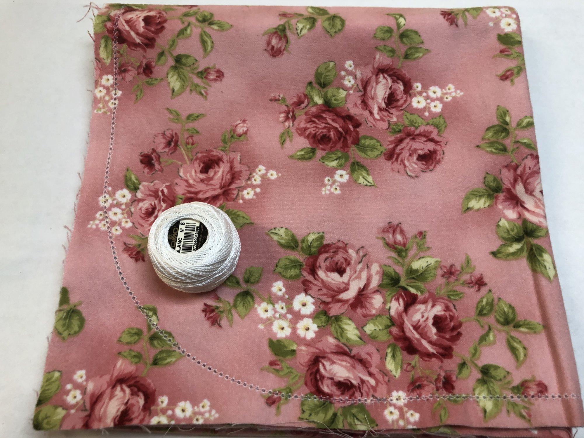 Roses on Pink Hemstitched Flannel Blanket