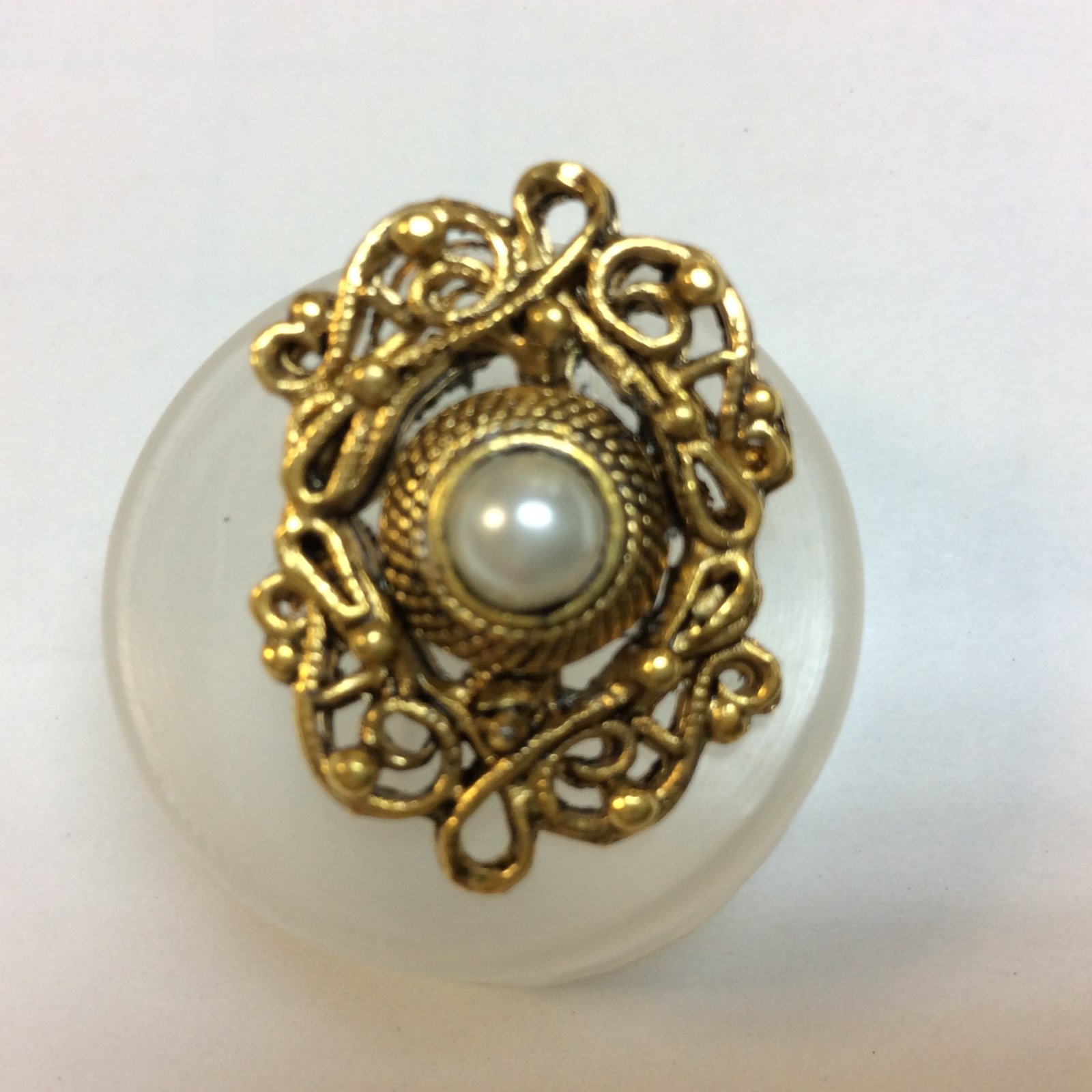 Ornate Gold Button with Pearl Center