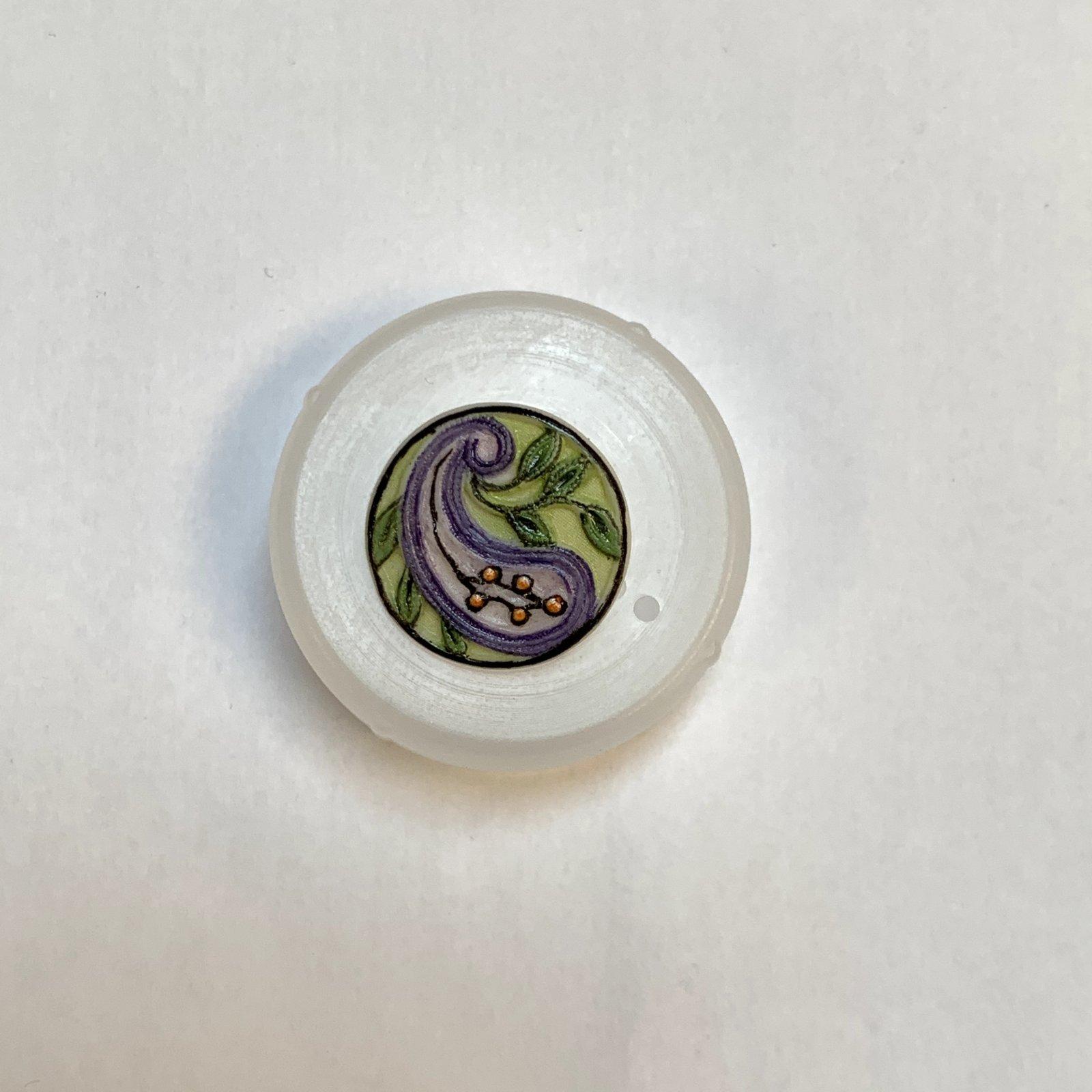 Purple Paisley Porcelain Button XB-697