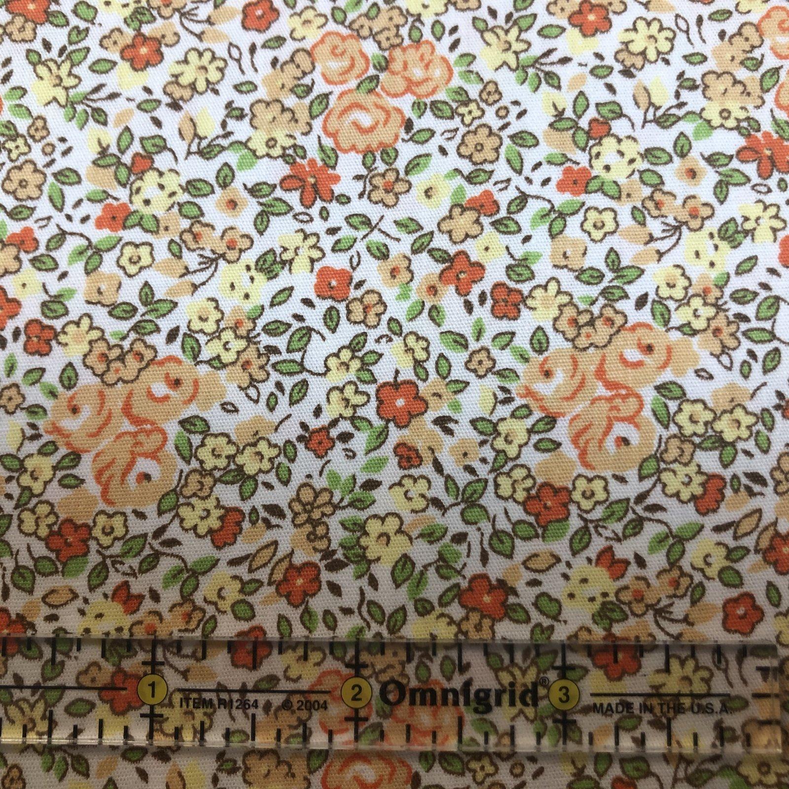 Orange Peach and Green Floral Print  2337