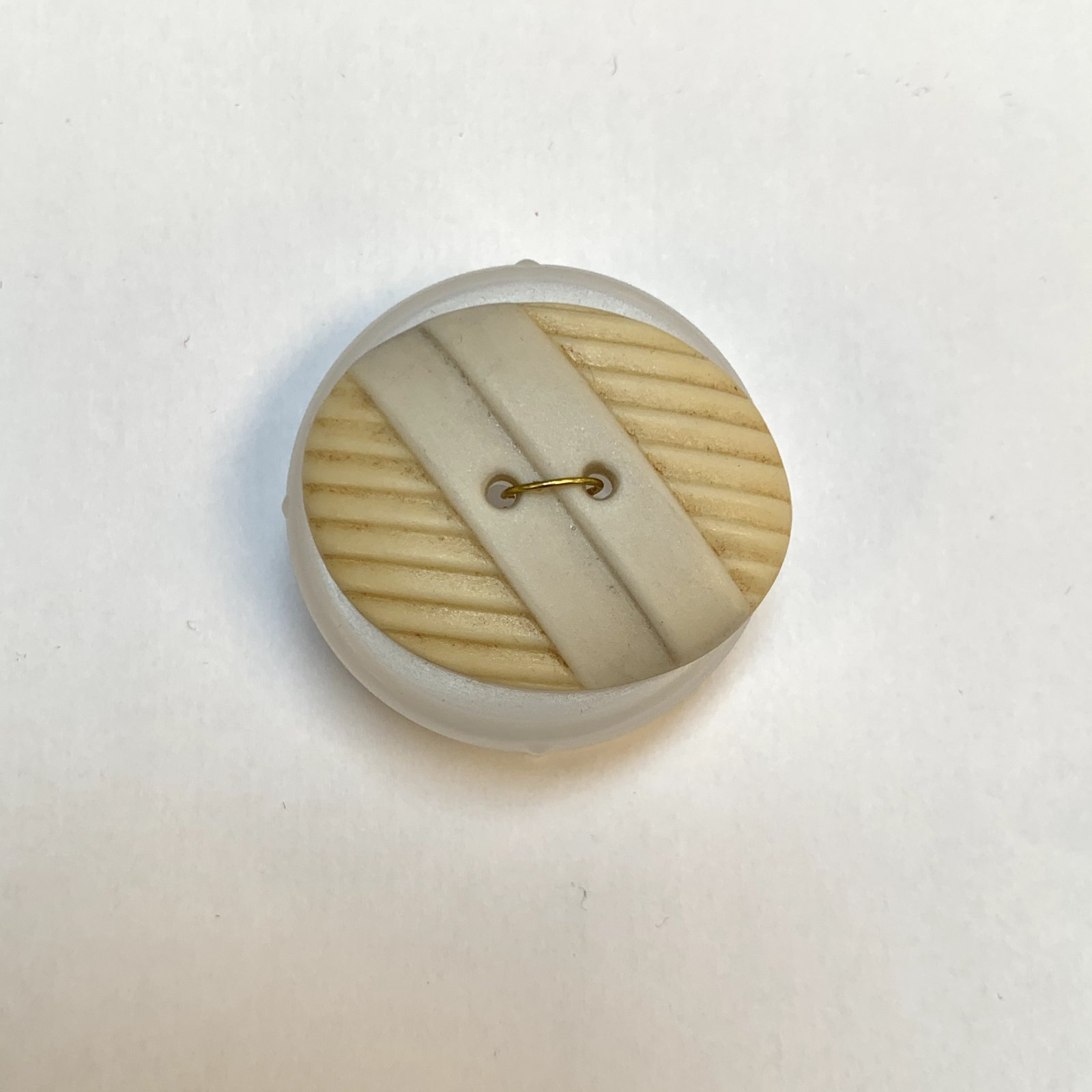 Tan Oval Porcelain Button 1 1/2 Inch