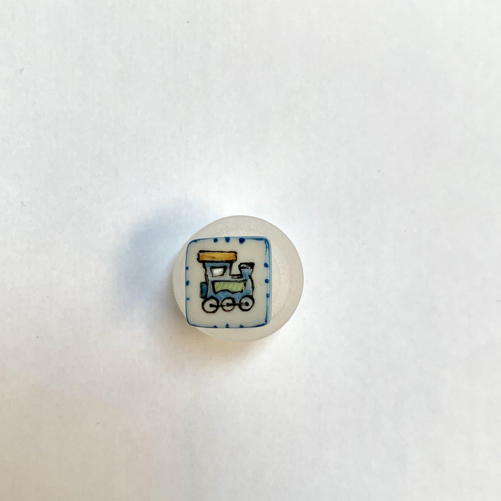 Blue Train Porcelain Button 1/2 Inch
