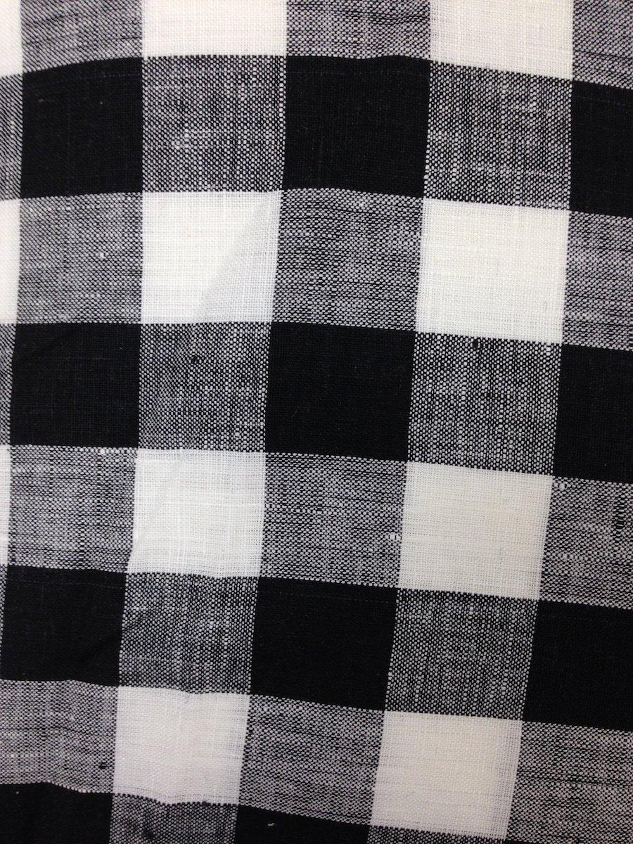 Black/White Buffalo Check Hemstitched Linen