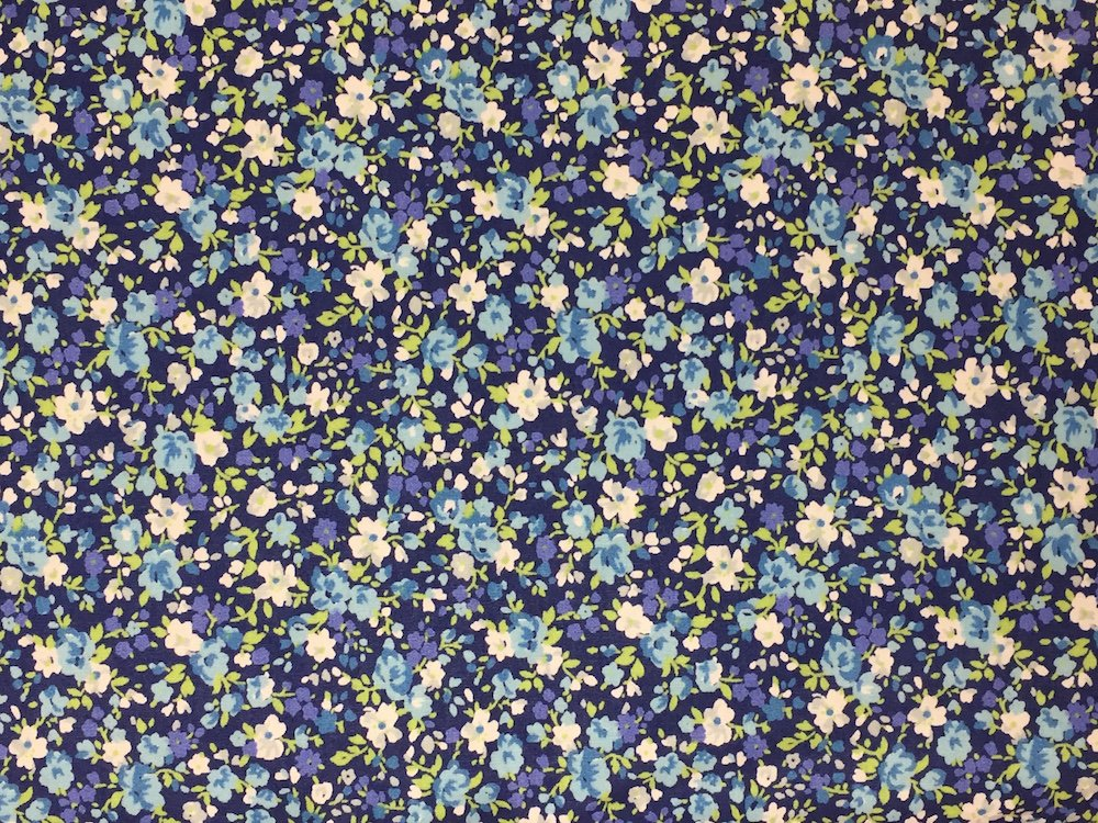 Pima Cotton Lawn Blue Floral on Navy