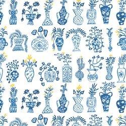 Promenade  Blue Vases on White 90059 10