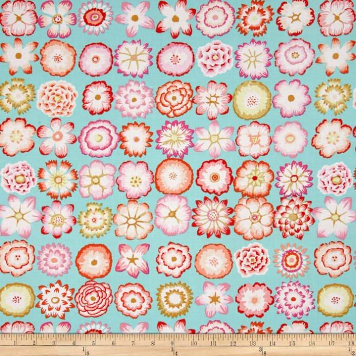 Button Flowers- Aqua