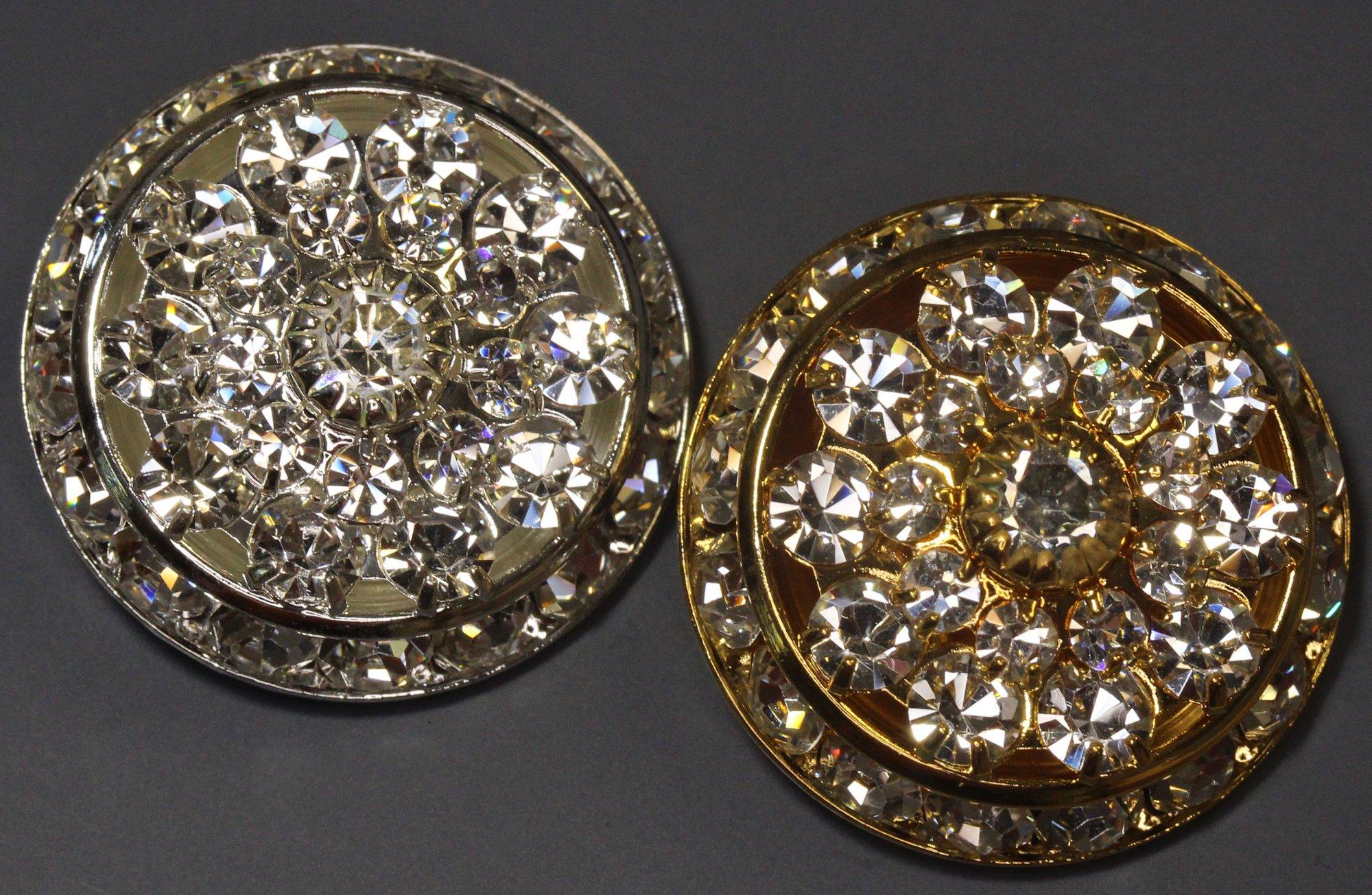 Round Austrian Crystal Filled Button 1in 5555