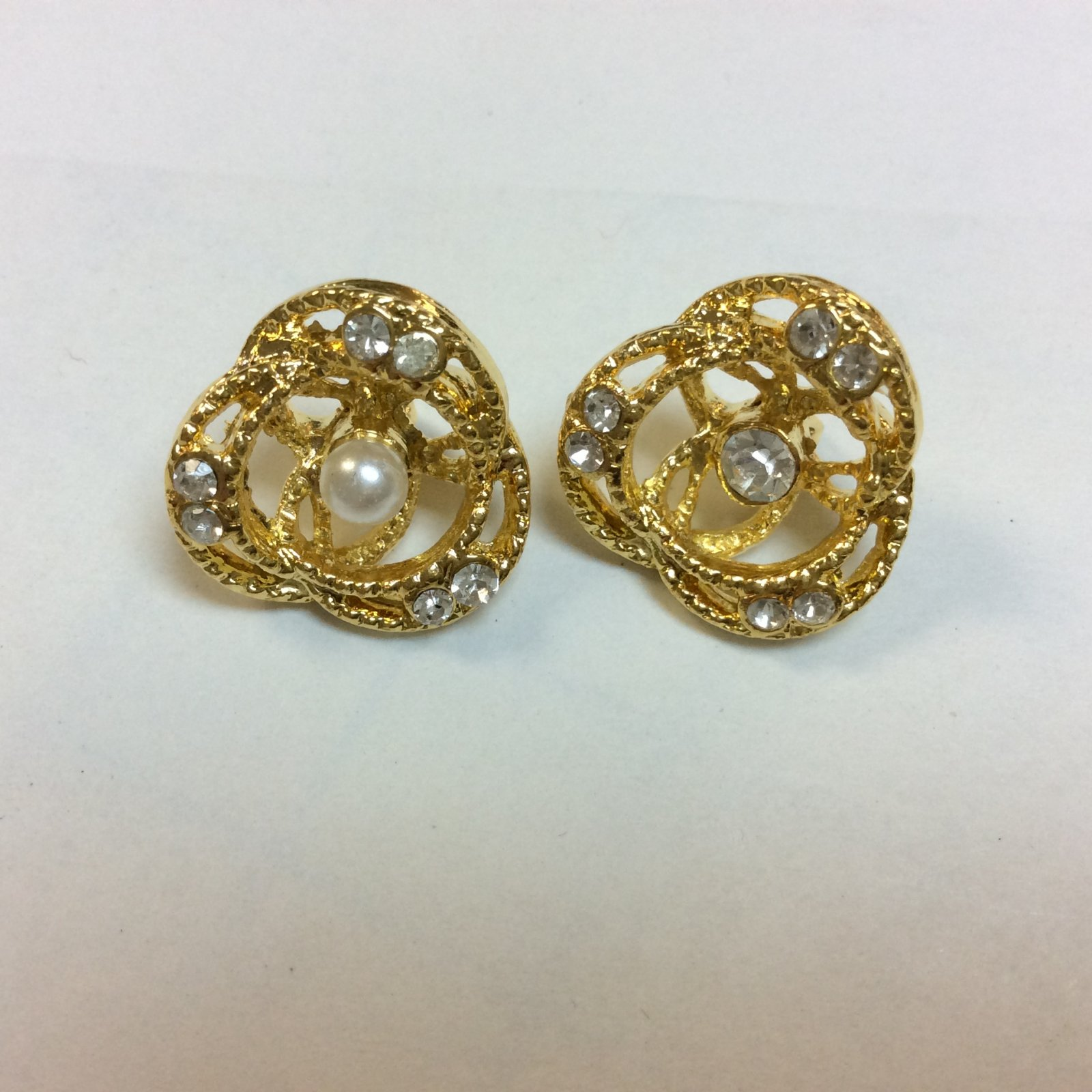Gold Rhinestone Button with Pearl or Rhinestone Center